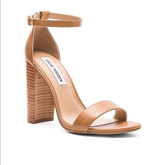 9d505c82bbf Steve Madden Carrson tan Leather ankle strap heels